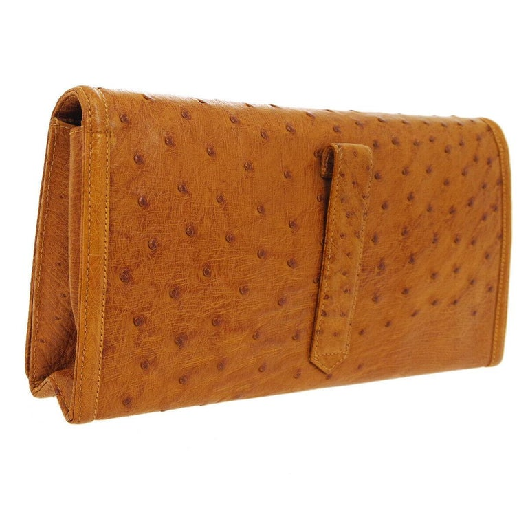 Brown Chanel Cognac Ostrich Exotic Skin Leather Envelope Evening Wallet Clutch Bag For Sale
