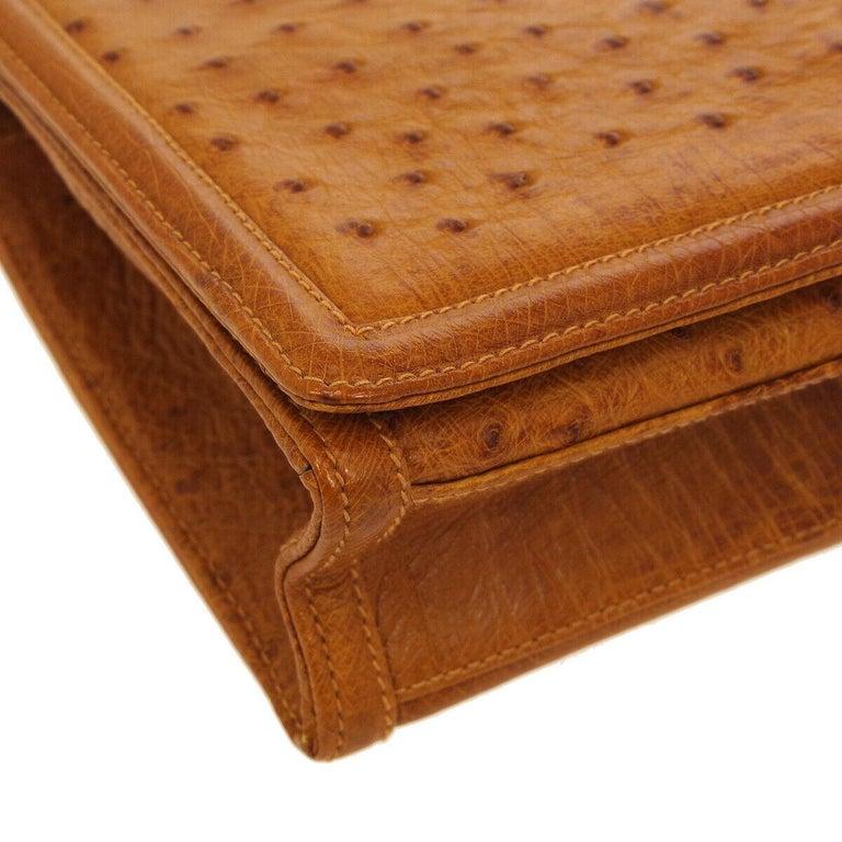 Women's Chanel Cognac Ostrich Exotic Skin Leather Envelope Evening Wallet Clutch Bag For Sale
