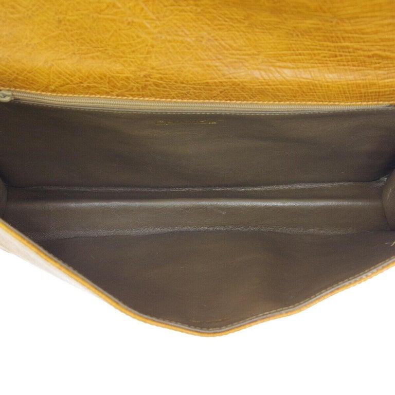 Chanel Cognac Ostrich Exotic Skin Leather Envelope Evening Wallet Clutch Bag For Sale 1