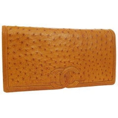 Chanel Cognac Ostrich Exotic Skin Leather Envelope Evening Wallet Clutch Bag