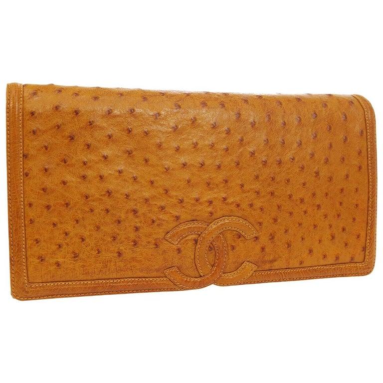 Chanel Cognac Ostrich Exotic Skin Leather Envelope Evening Wallet Clutch Bag For Sale
