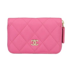 CHANEL Coin Purse Pink Caviar with Light Gold Hardware 2018