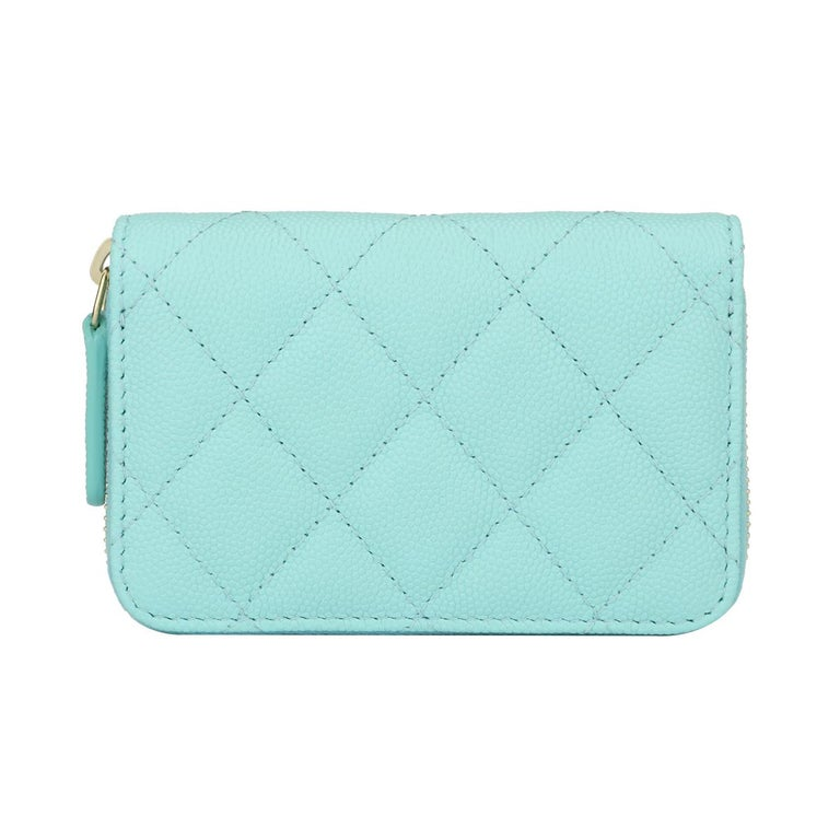 5f57639299ff Women s or Men s CHANEL Coin Purse Tiffany Blue Caviar with Light Gold  Hardware 2018 For Sale