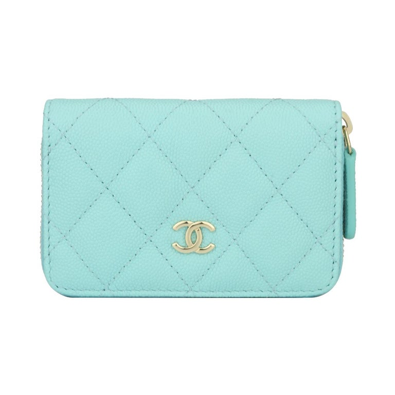 65c18260413f CHANEL Coin Purse Tiffany Blue Caviar with Light Gold Hardware 2018 For Sale