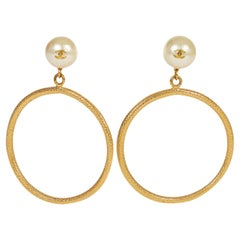Chanel Collectible Hoop Pearl Earrings