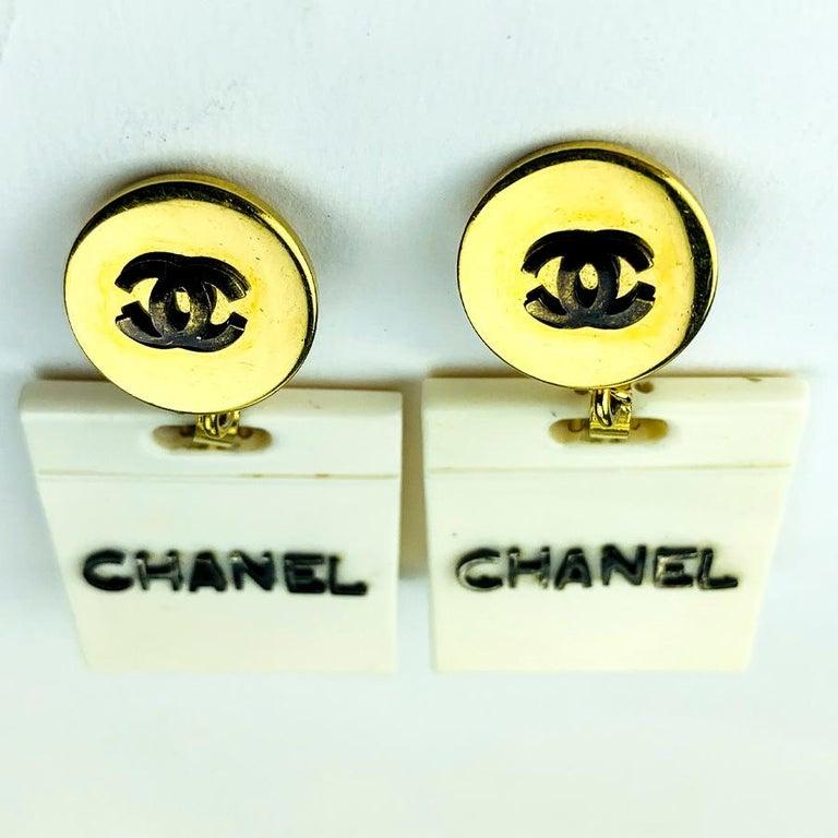 Women's Chanel Collector Beige Bag Earrings For Sale