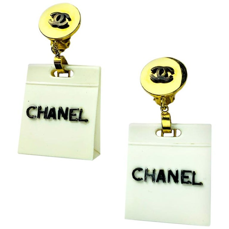 Chanel Collector Beige Bag Earrings For Sale
