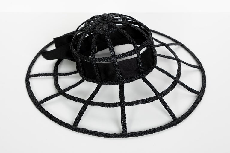 Chanel Collectors Black Silk Bow Hat Runway 1992  In Excellent Condition For Sale In Boca Raton, FL