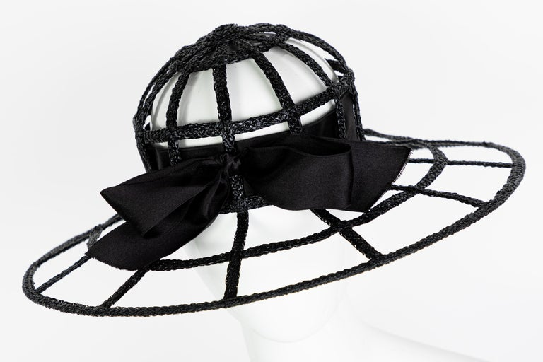 Women's Chanel Collectors Black Silk Bow Hat Runway 1992  For Sale