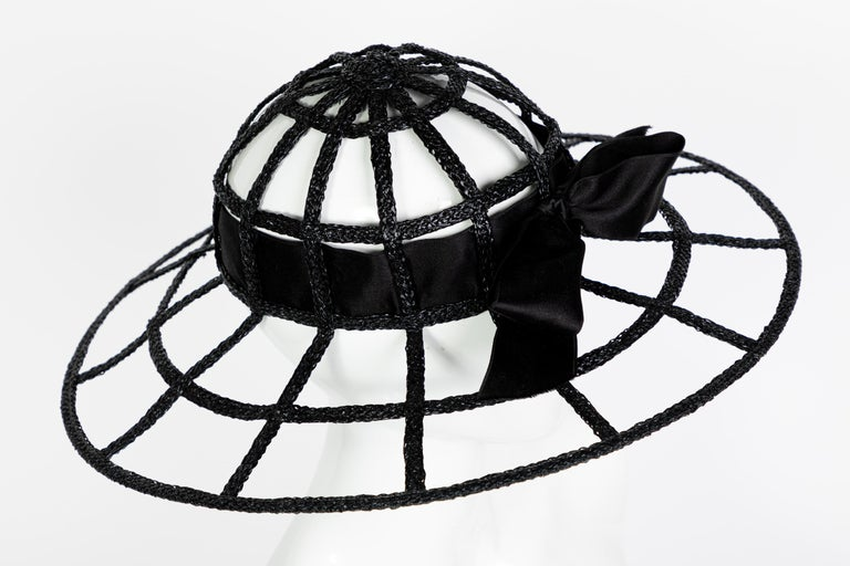 Chanel Collectors Black Silk Bow Hat Runway 1992  For Sale 1