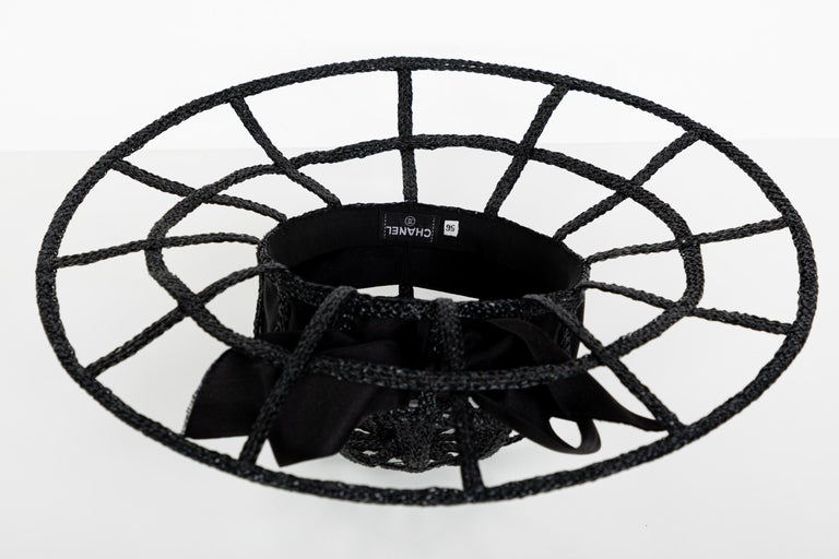 Chanel Collectors Black Silk Bow Hat Runway 1992  For Sale 4