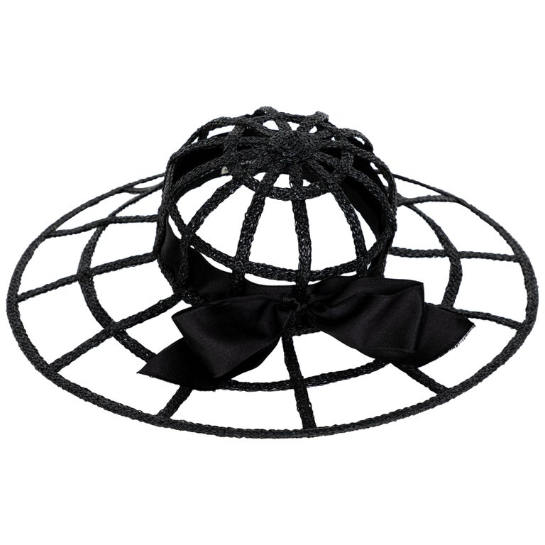 Chanel Collectors Black Silk Bow Hat Runway 1992  For Sale