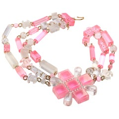 Chanel Collier pink and clear lucite elements 2000s