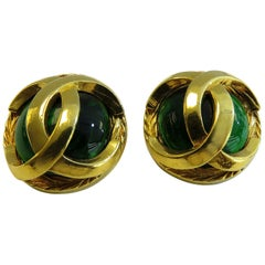 Chanel Color Stone Earring 18 Karat Gold Plated Vintage Clip on