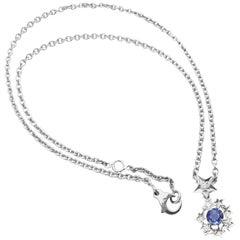 Chanel Comet Star Diamond Sapphire White Gold Pendant Necklace