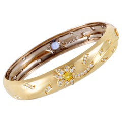 Chanel Comete 18K White and Yellow Gold Diamond and Sapphire Bangle Bracelet