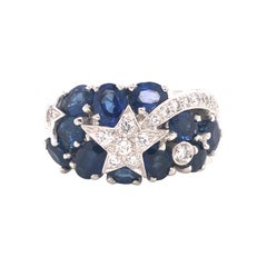 Chanel Comète 18k White Gold Diamond and Sapphire Ring