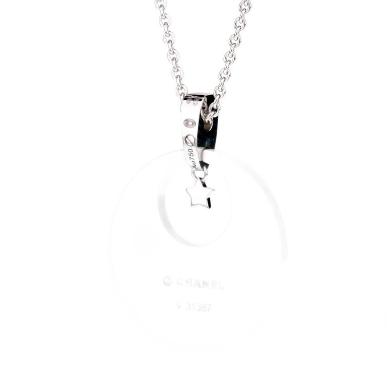 An iconic Chanel necklace from the Comete collection featuring a dazzling display of round brilliant cut diamonds set in 18k white gold and ceramic.  Necklace Length: 16