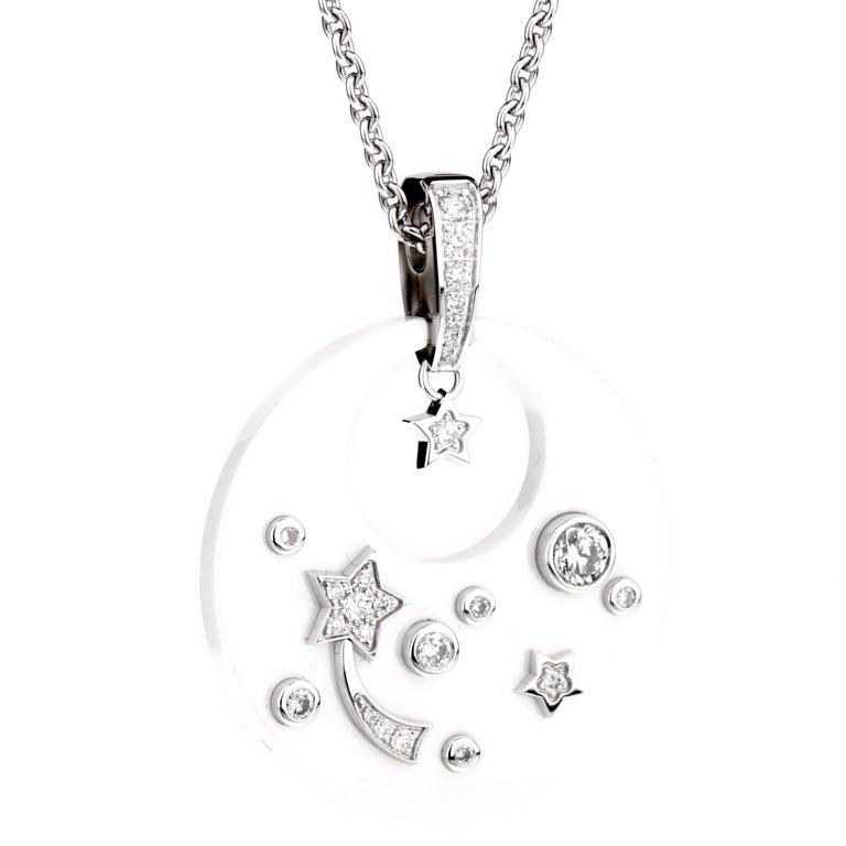 Women's Chanel Comete Ceramic Diamond White Gold Necklace For Sale