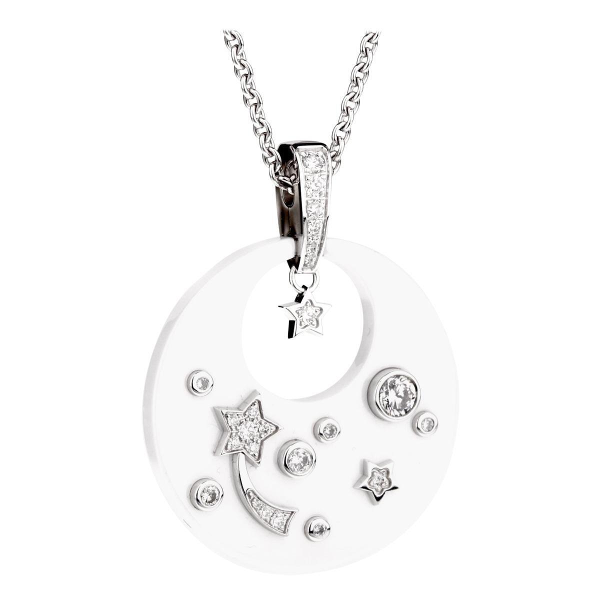 Chanel Comete Ceramic Diamond White Gold Necklace