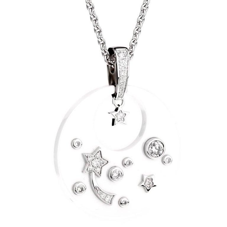 Chanel Comete Ceramic Diamond White Gold Necklace For Sale