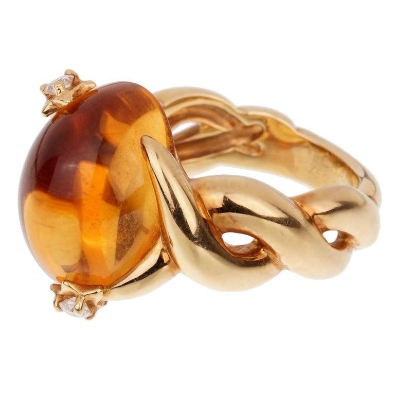 Women's Chanel Comete Citrine Diamond Yellow Gold Ring For Sale