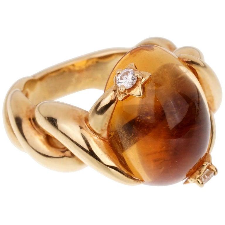 Chanel Comete Citrine Diamond Yellow Gold Ring For Sale