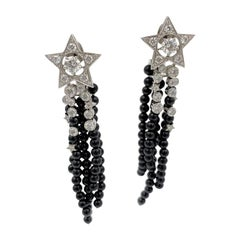 Chanel Comète Diamond and Black Spinel Earrings