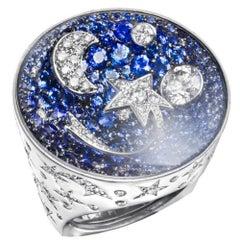 Chanel Comete Diamond Sapphire White Gold Large Ring
