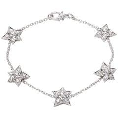 Chanel Comete Five-Star Diamond Bracelet in 18 Karat White Gold 1.04 Carat
