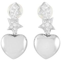 Chanel Comète Heart 18 Karat White Gold Diamond Earrings