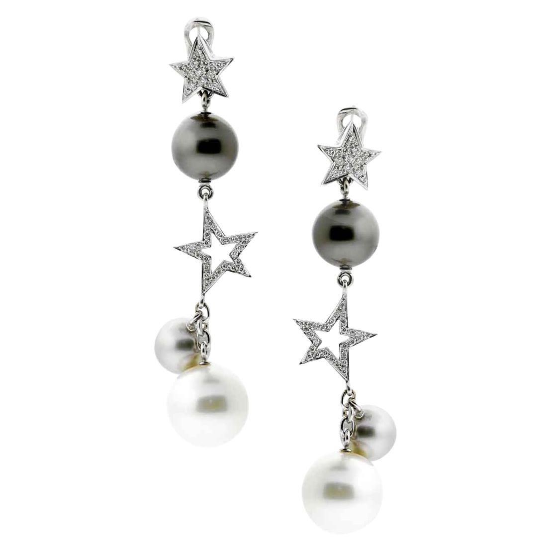 Chanel Comete Pearl Drop Diamond Gold Earrings