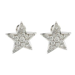 Chanel Comete Star Diamond 18k White Gold Stud Earrings