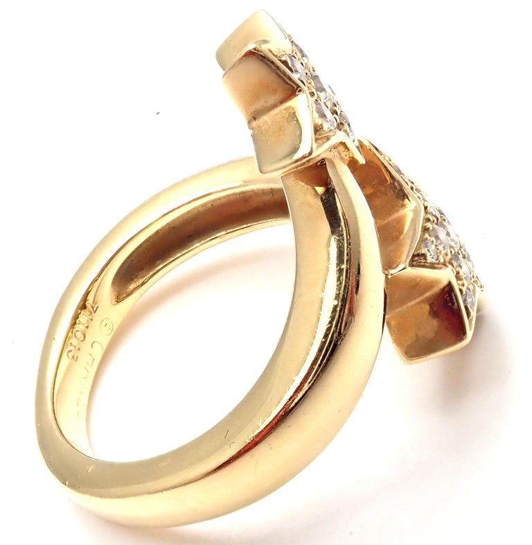 Chanel Comete Star Diamond Gold Cocktail Ring In Excellent Condition For Sale In Holland, PA