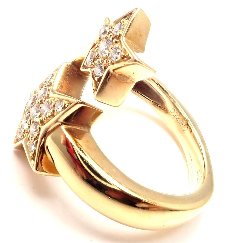 Chanel Comete Star Diamond Gold Cocktail Ring For Sale 1