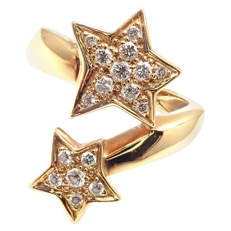 Chanel Comete Star Diamond Gold Cocktail Ring For Sale
