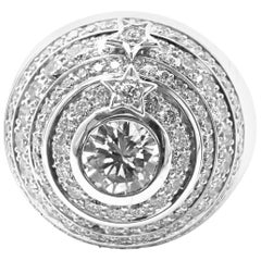Chanel Comete Star Diamond Large Spinning Dome White Gold Cocktail Ring