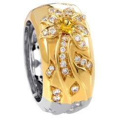Chanel Comete Women's 18 Karat White and Yellow Gold Diamond, Band Ring