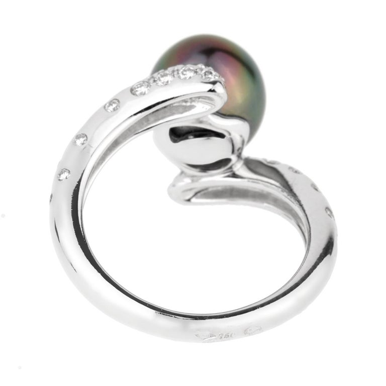 Women's or Men's Chanel Concept Pearl Diamond White Gold Ring For Sale