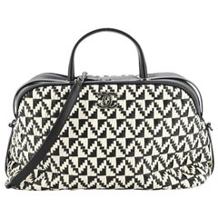 Chanel Convertible Chain Bowler Bag Woven Calfskin Large