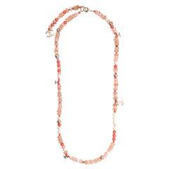 Chanel Coral Embellished CC Logo Necklace