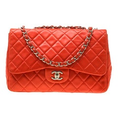 Chanel Coral Orange Quilted Leather Jumbo Classic Single Flap Bag