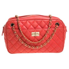 Chanel Coral Orange Quilted Leather Reissue Camera Bag