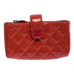 Chanel Coral Orange Quilted Patent Leather iPhone Pouch