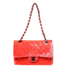 Chanel Coral Orange Quilted Velvet Medium Classic Double Flap Bag