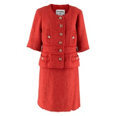 Chanel Coral Red Runway Tweed Skirt Suit - Size US 10
