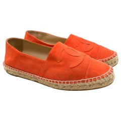Chanel Coral Red Suede Espadrilles 39