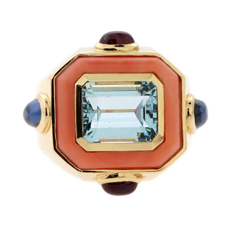 Women's or Men's Chanel Coral Topaz Gold Ring For Sale