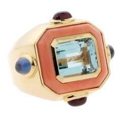 Chanel Coral Topaz Gold Ring