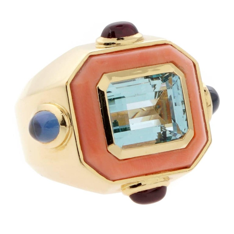 Chanel Coral Topaz Gold Ring For Sale